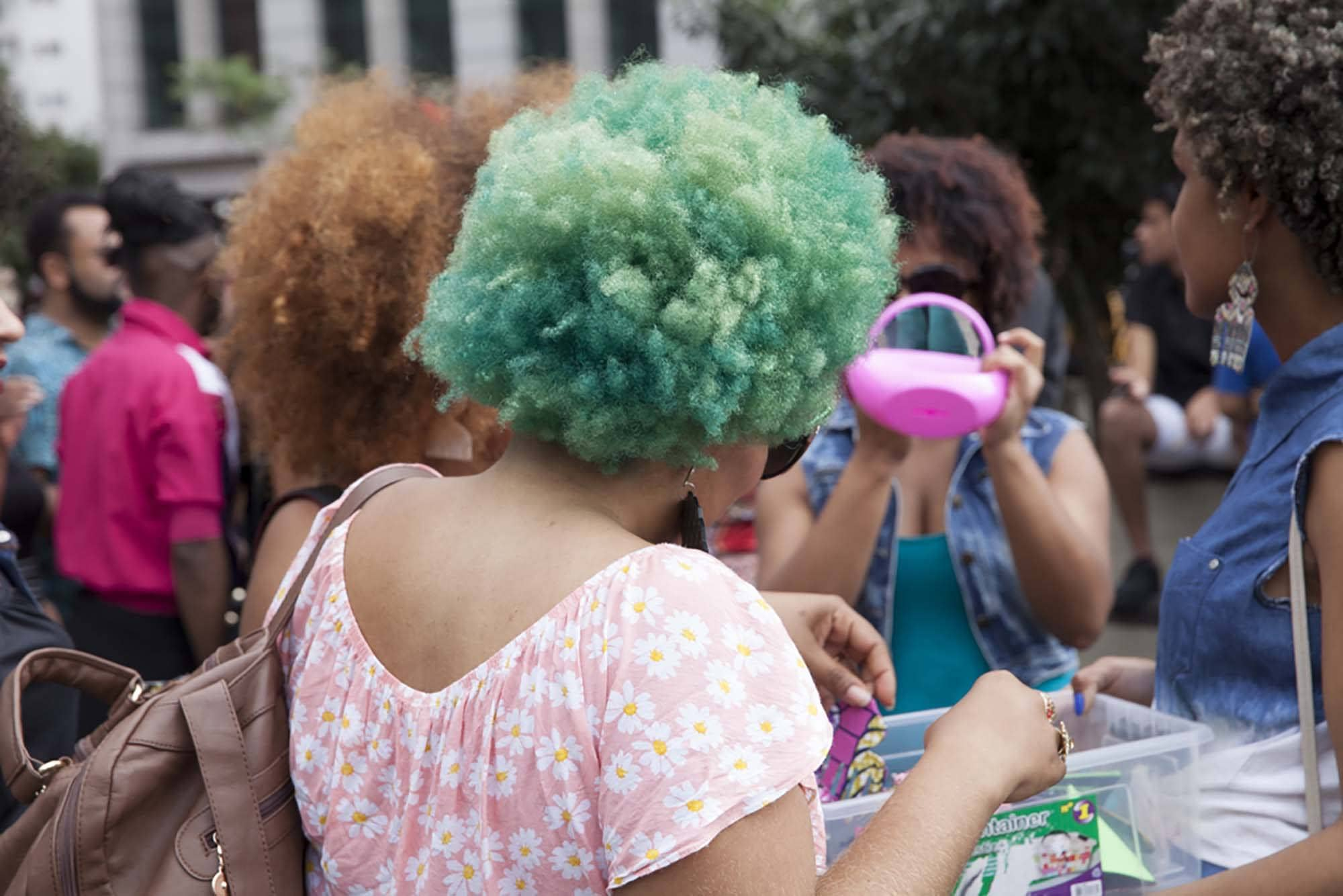 Coloured afro hair styles: punk sea foam green afro