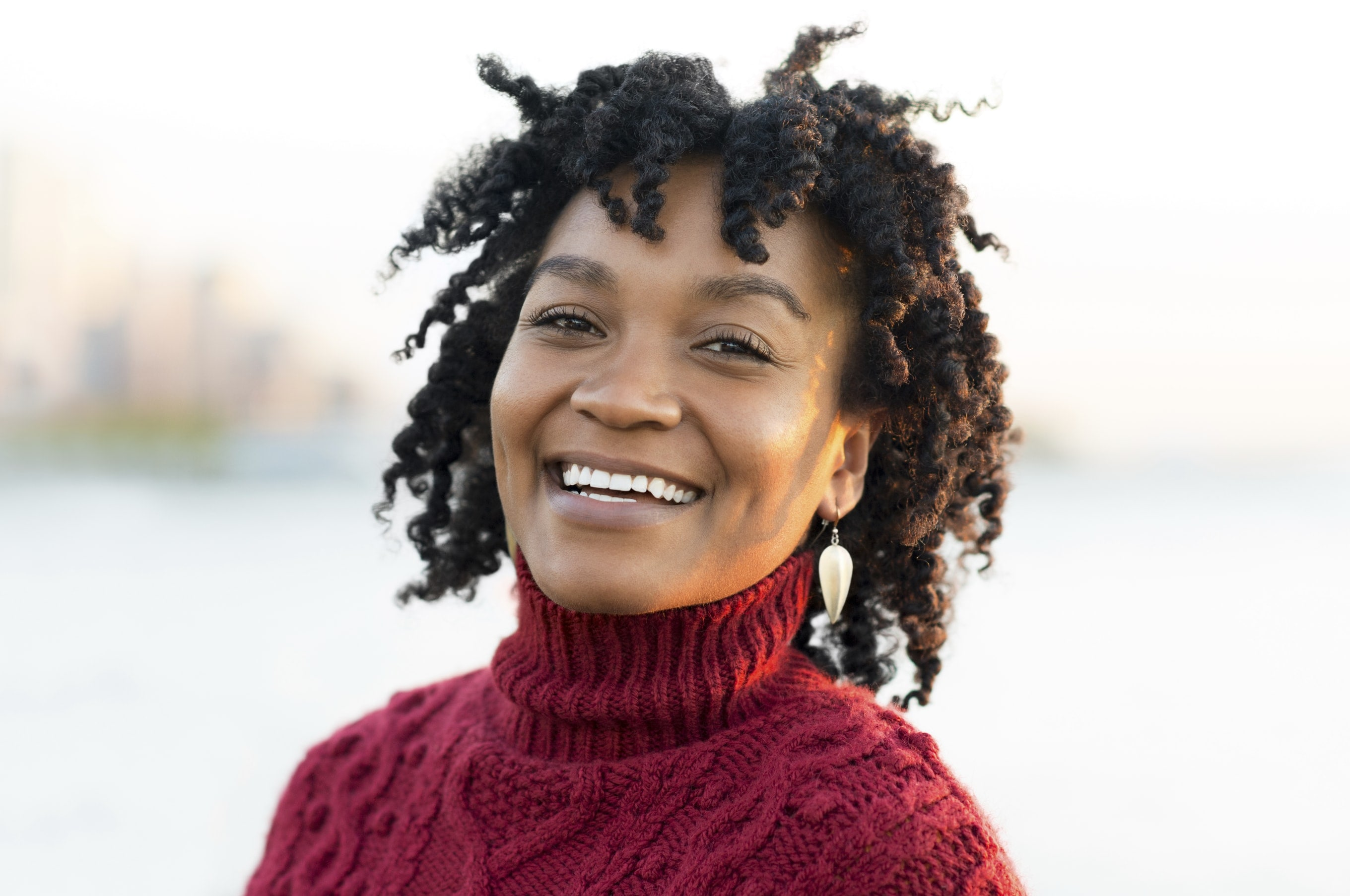 Natural afro hair: Black woman with natural afro hair twist out