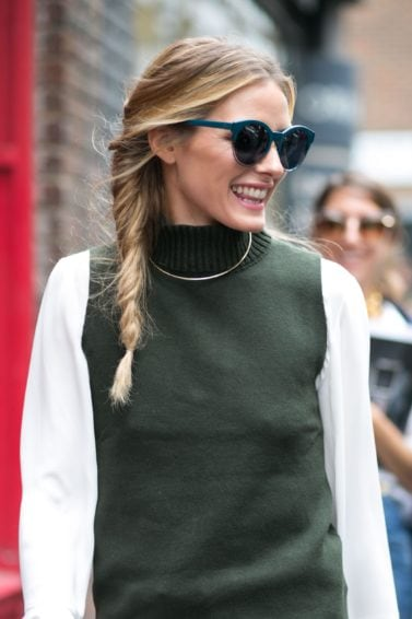 Ladies hairstyles: LFW blonde woman with a plait