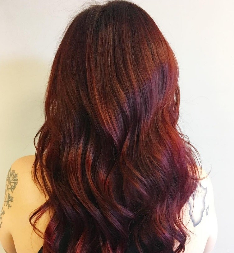 Black hair with red and caramel highlights the best black hair 2017 dark red hair colours to try this autumn pmusecretfo Choice Image