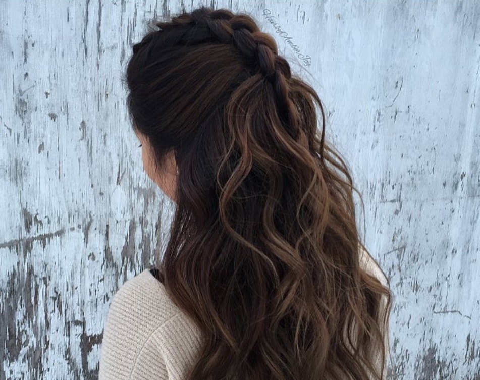 faux French braid instagram: half up half down hair