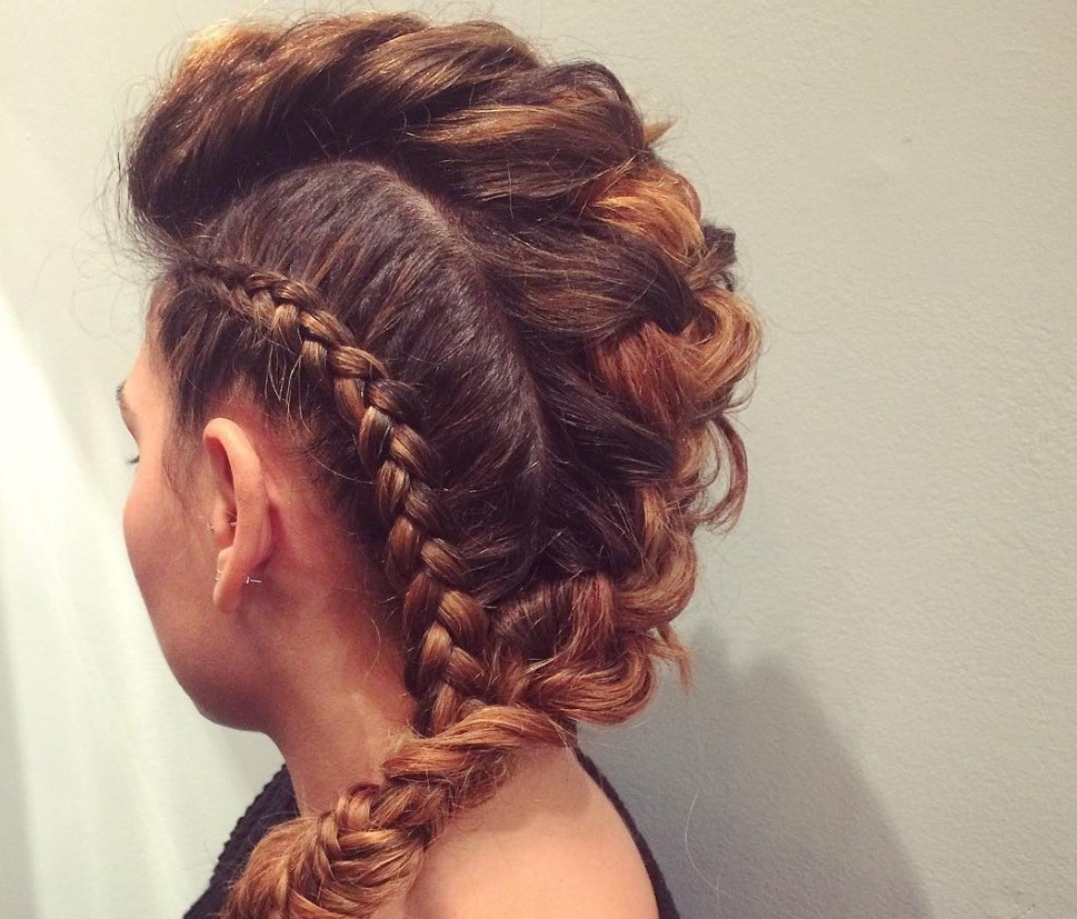 faux mohawk braid inspiration: multiple braids