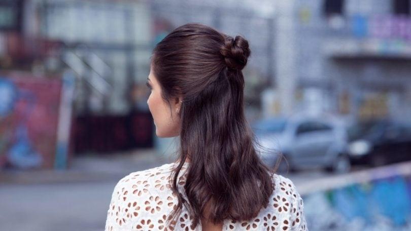 How to do a half-up, half-down flower braided bun