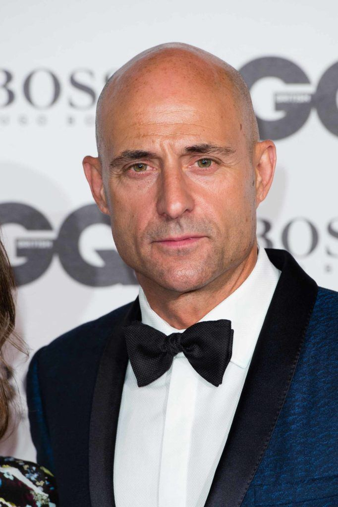 Mark Strong at the GQ Awards 2016 with a clean shaved bald head