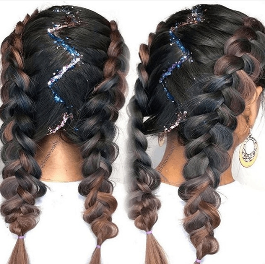 ducth plait with zig-zag parting and glitter