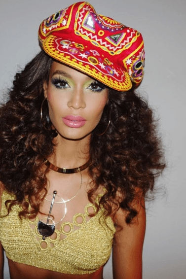 Joan Smalls '70s retro hair at Beyonce's 35th birthday party