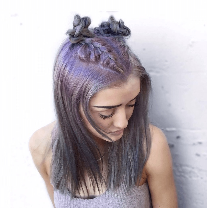 Metallic hair: braided purple hair