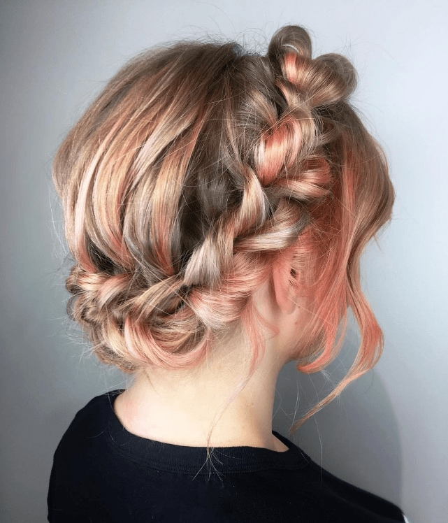 copper peach metallic hair