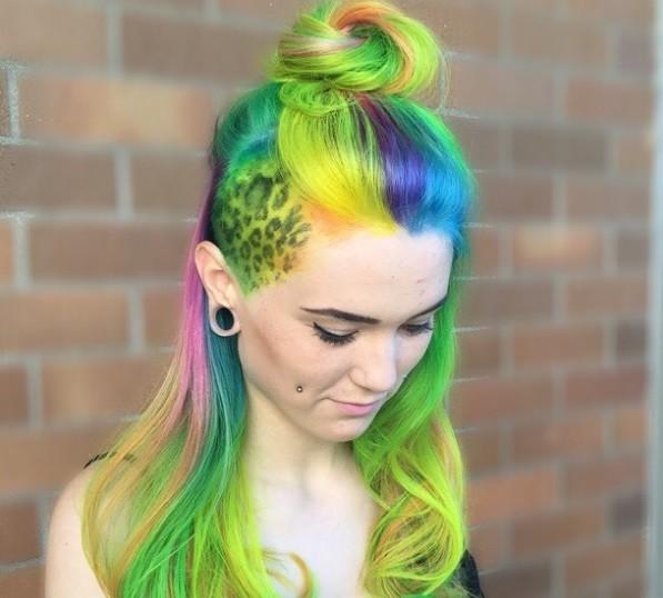 neon coloured hair undercut women