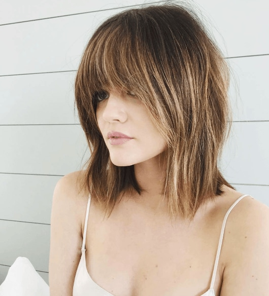 Lucy Hale fringe new hair