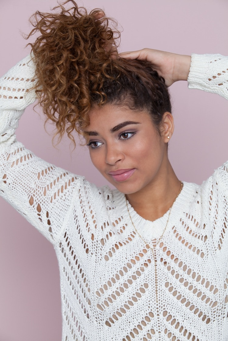 Easy hairstyles for back-to-school: curly hair updo pineapple