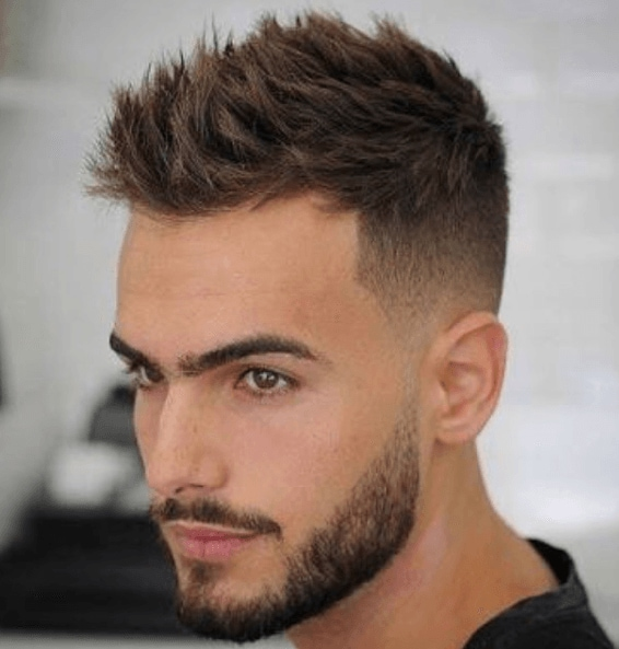 High Quality Image Of A Man With A Spiky Hair Cut And A Short Groomed Beard   Mens