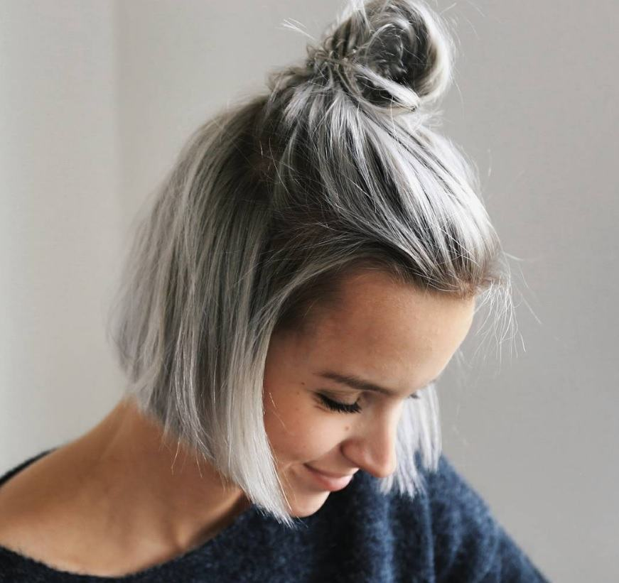 Cute hairstyles for short hair: All Things Hair - IMAGE - grey bob half up