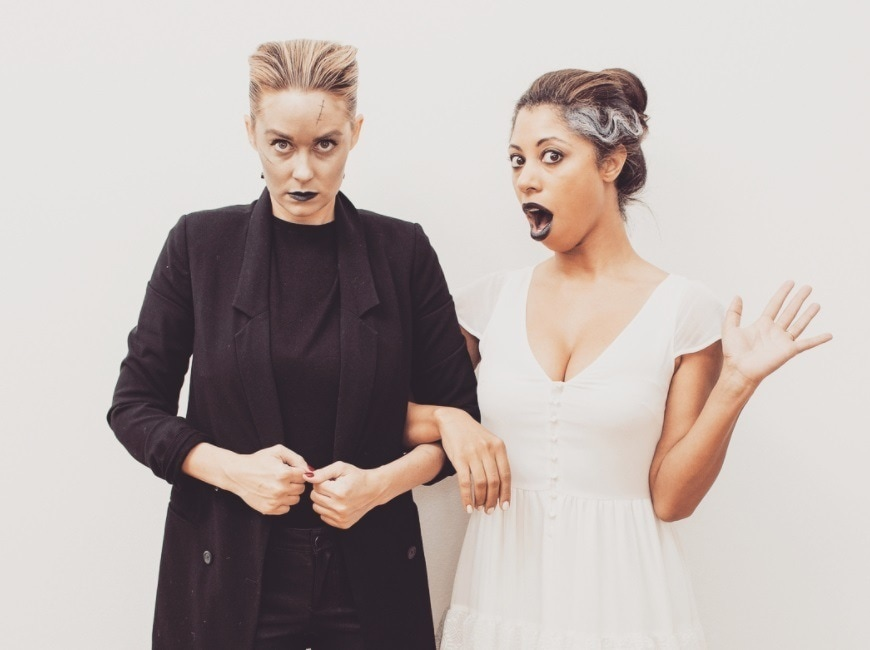 close up shot of lauren conrad dressed as frankenstein, with slicked back short hair and black outfit