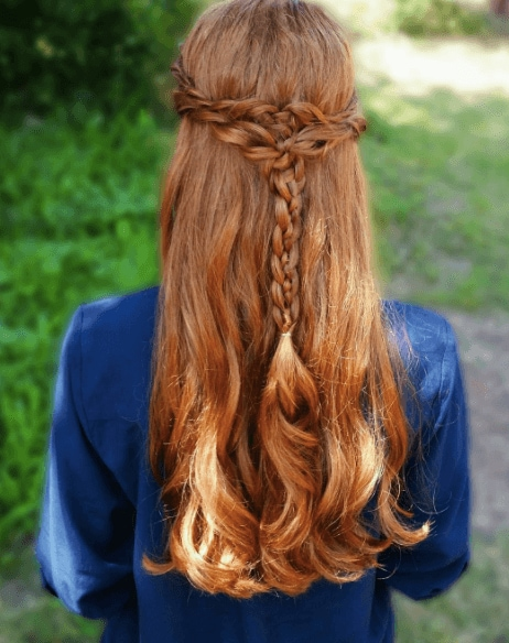 Medieval hairstyles: Back of a woman's head with long red hair, with braids worn half down