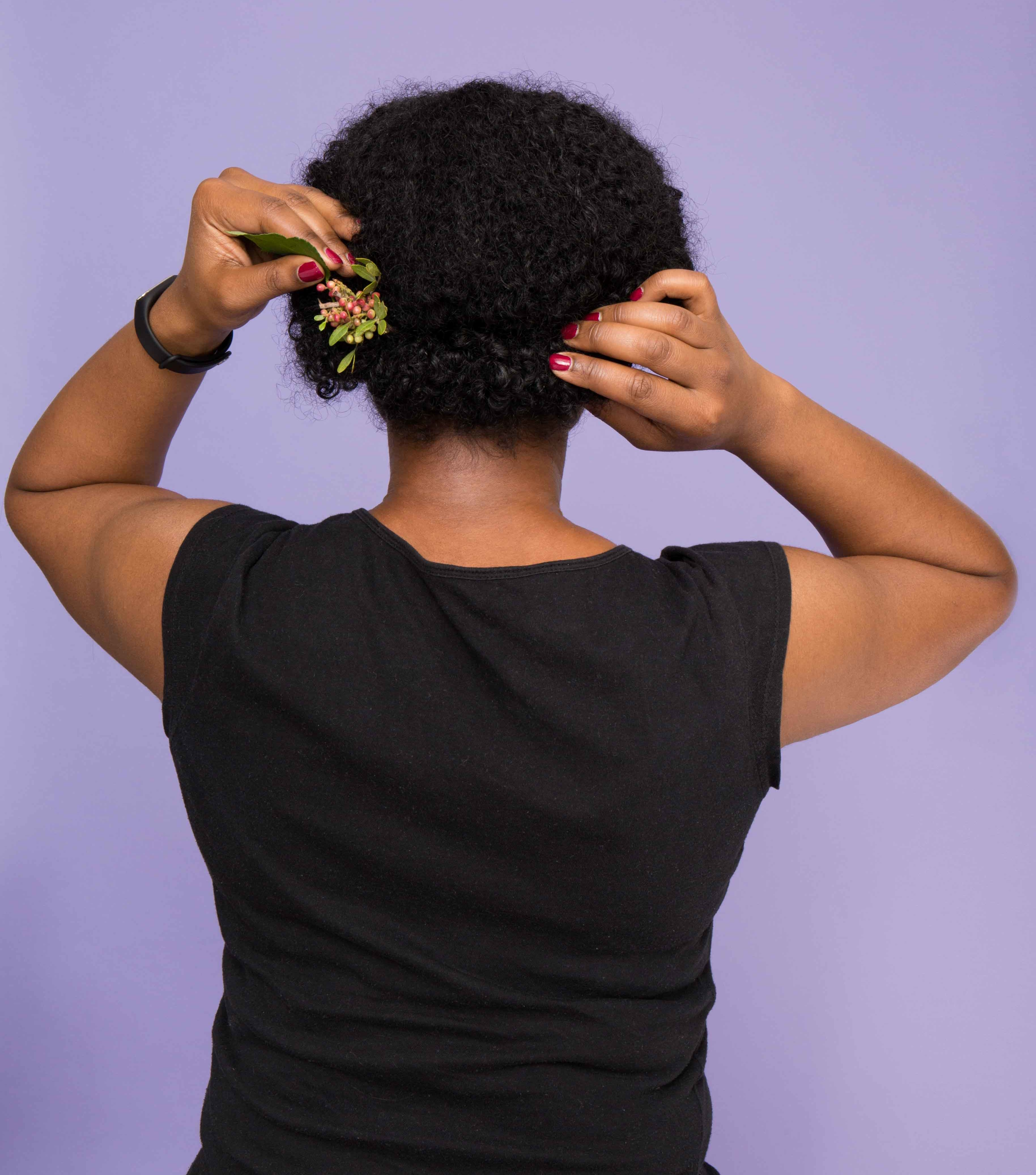 chignon hair: All Things Hair - IMAGE - afro black hair party hairstyle Christmas festive updo
