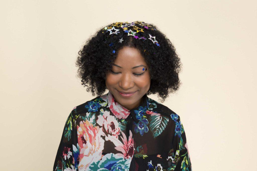 going out hair: All Things Hair - IMAGE - confetti glitter brown afro party