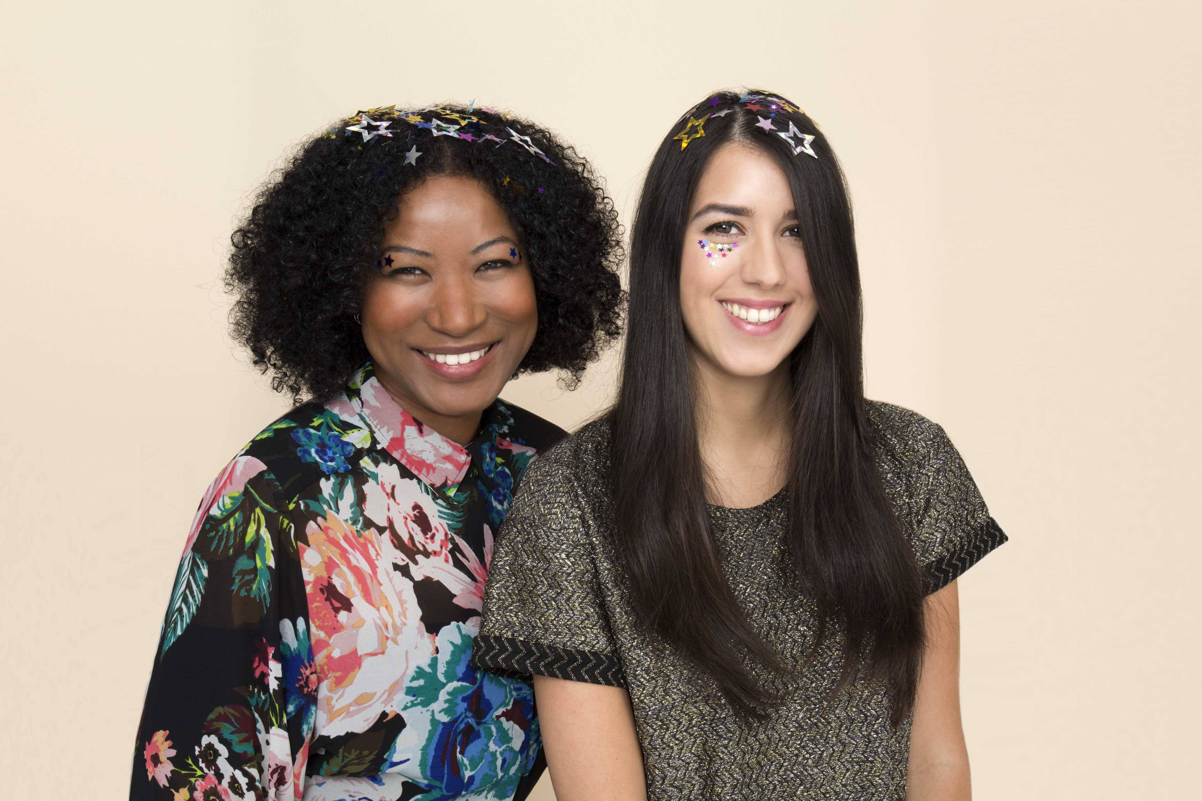 going out hair: All Things Hair - IMAGE - confetti glitter long brown hair afro party