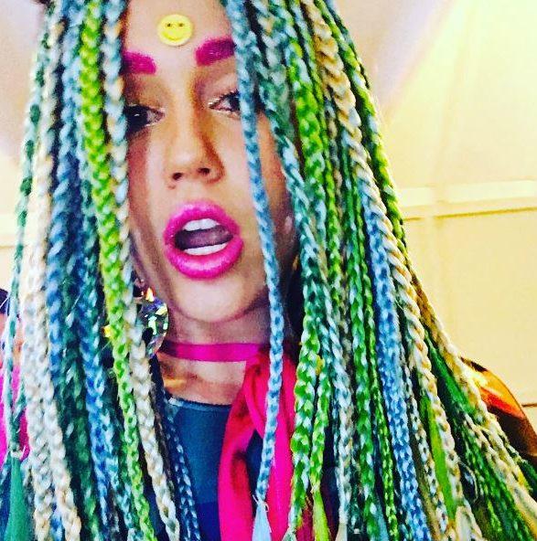 Miley Cyrus hair: All Things Hair - IMAGE - celebrity Instagram multicoloured rainbow braids
