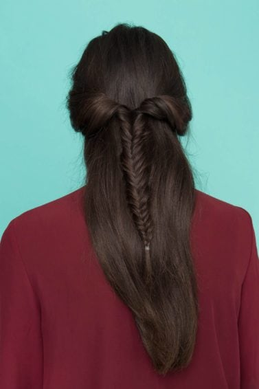 fishtail plait: All Things Hair - IMAGE - christmas party hairstyles long brown hair