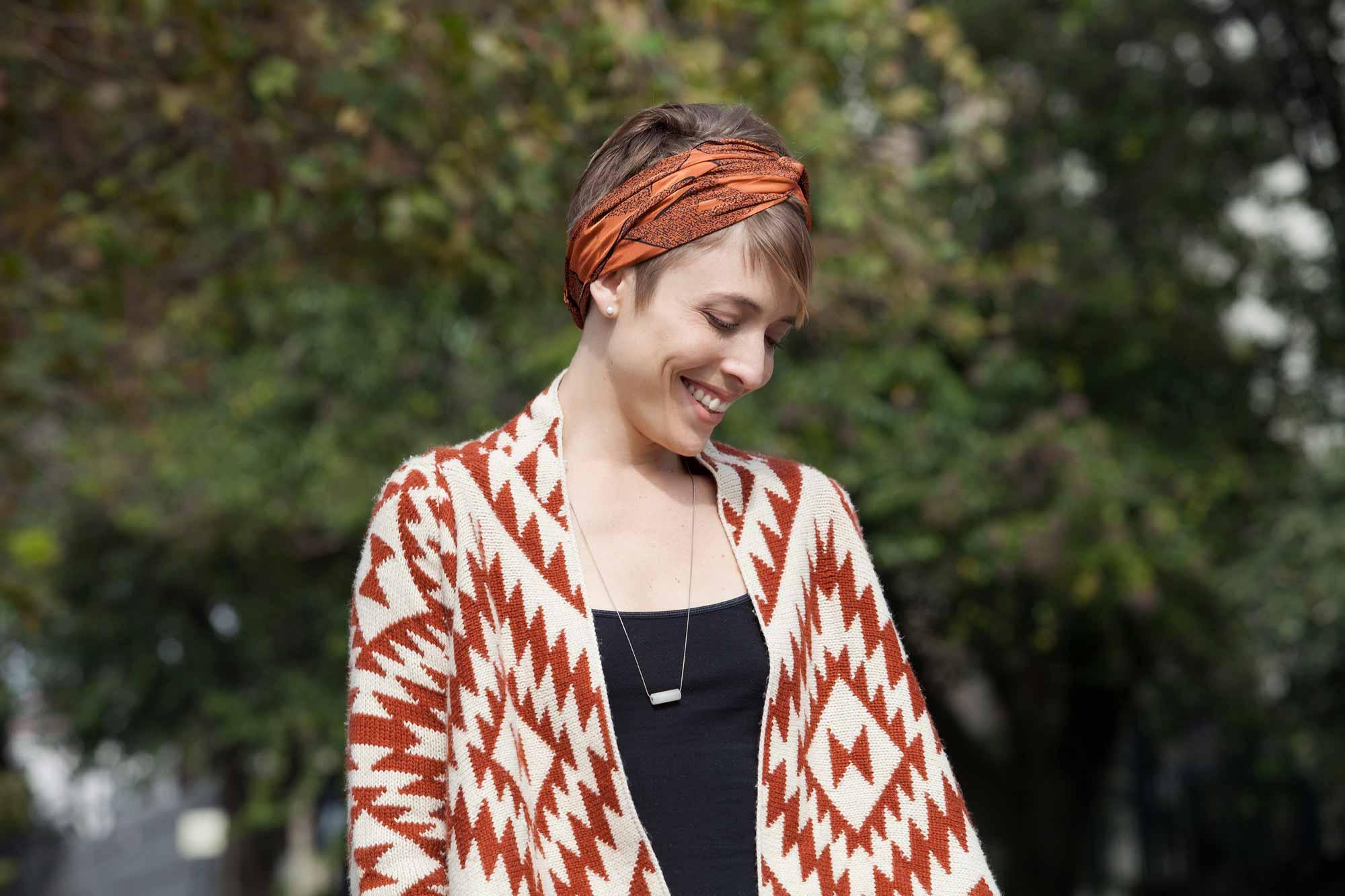 long pixie cut: All Things Hair - IMAGE - styling ideas brown hair bandana hair accessory