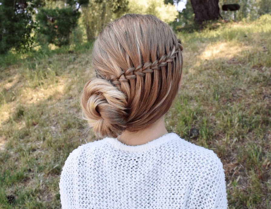 up hairstyles for long hair: backshot of model with side twisted bun