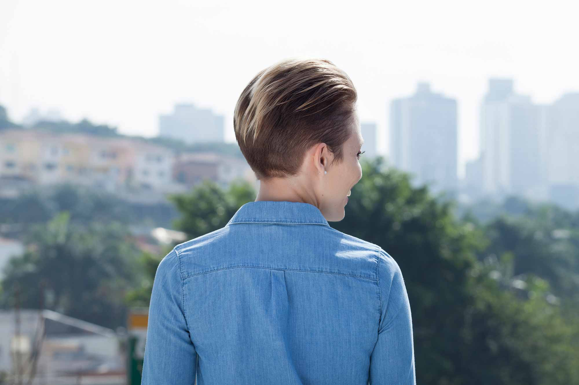 long pixie cut: All Things Hair - IMAGE - styling ideas brown highlighted slicked back hair