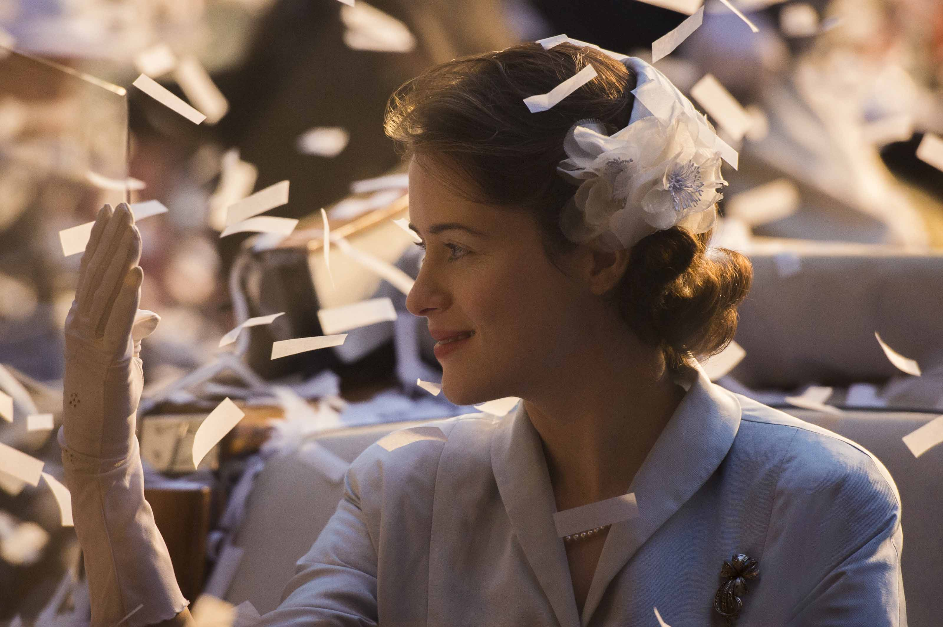 The Crown: All Things Hair - IMAGE - floral hair accessory Netflix updo