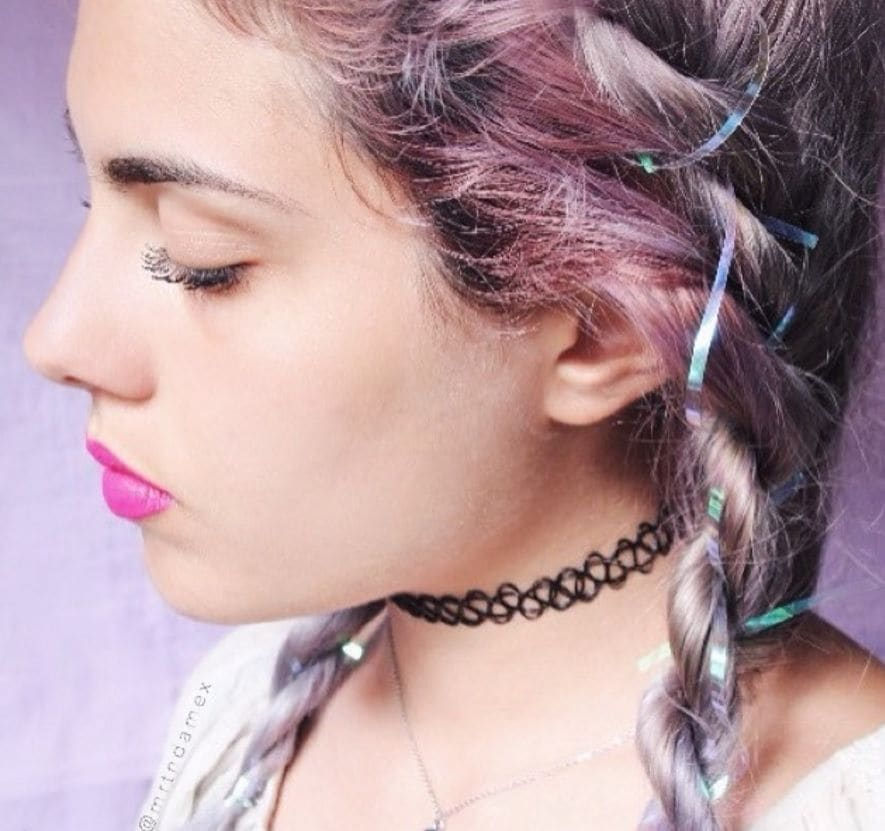 tinsel hair: All Things Hair - IMAGE - Christmas party Instagram hairstyle pink hair
