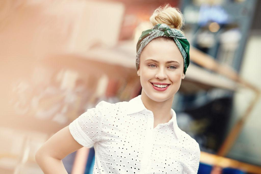 easy updos for long hair: model with vintage updo with bandana