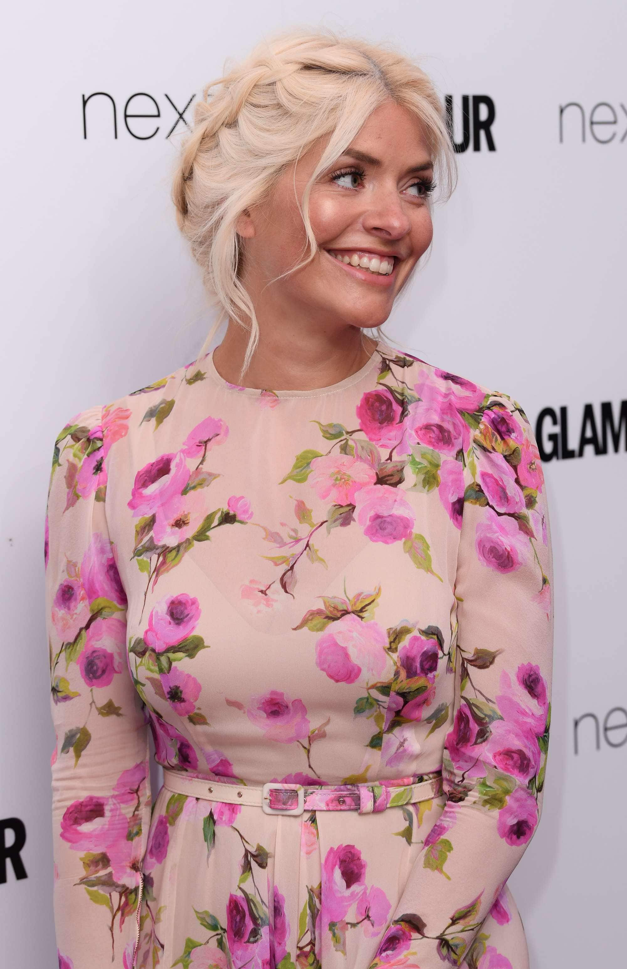 Holly Willoughby light blonde milkmaid braid