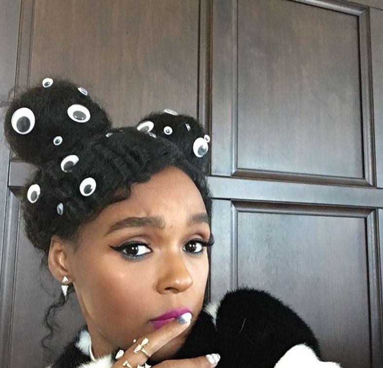 hair buns: All Things Hair - IMAGE - Janelle Monae hair accessories space buns