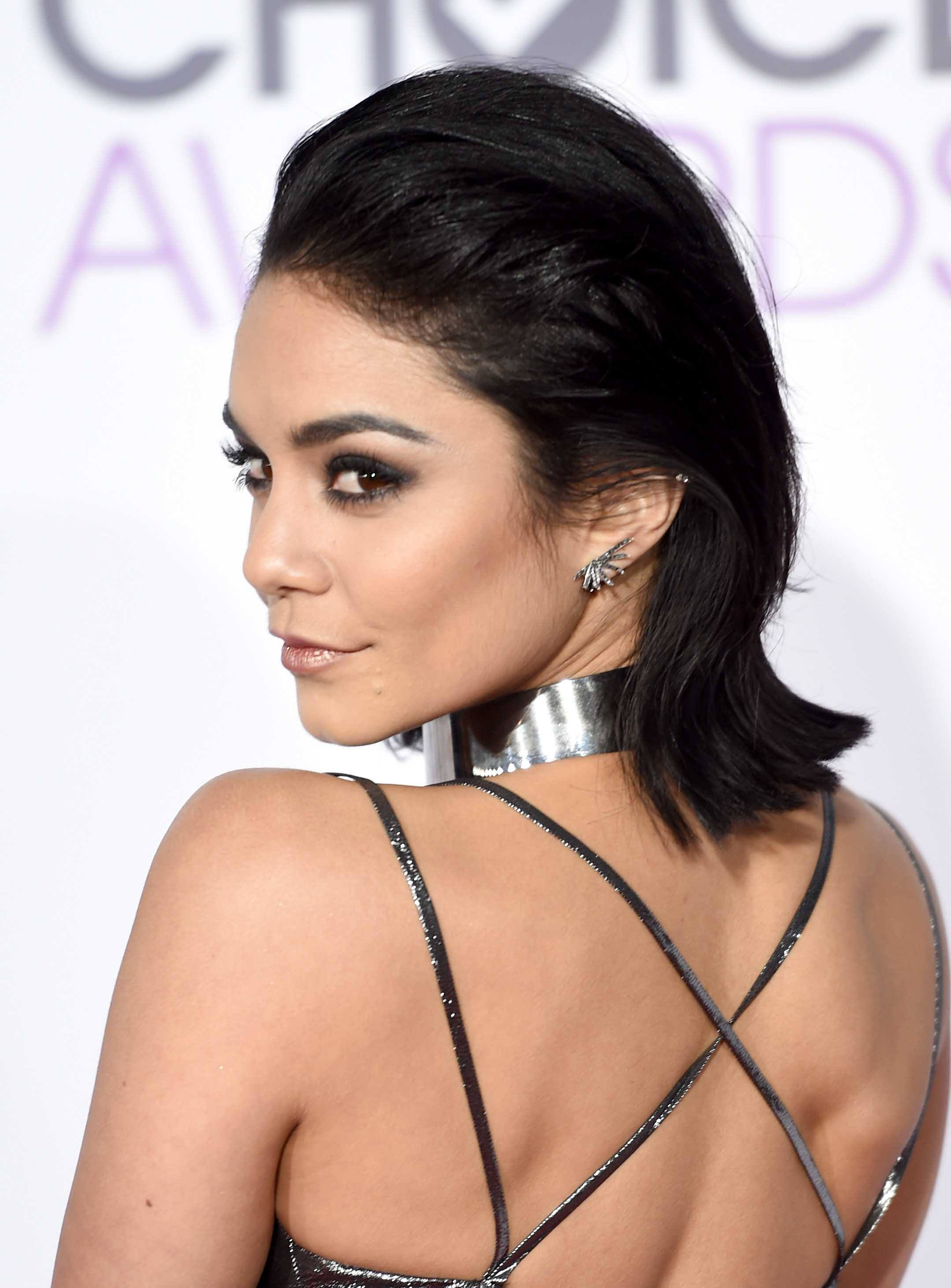 celebrity hair: All Things Hair - IMAGE - 2016 Vanessa Hudgens brunette slick back bob