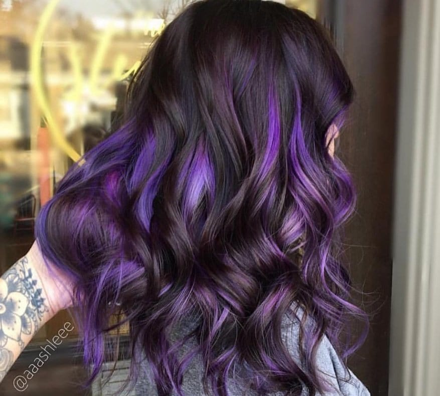Purple Highlights On Dark Hair Is The Latest Instagram Trend