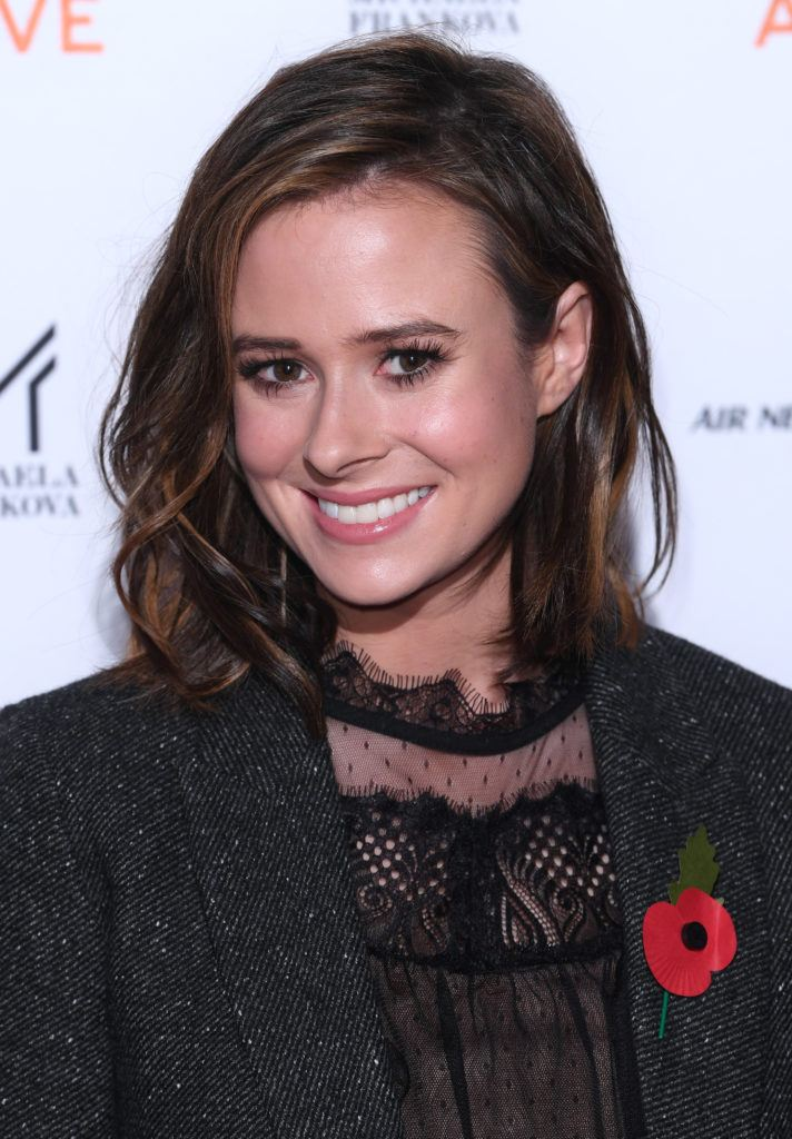 Camilla Thurlow with her brown hair in a long bob with texture