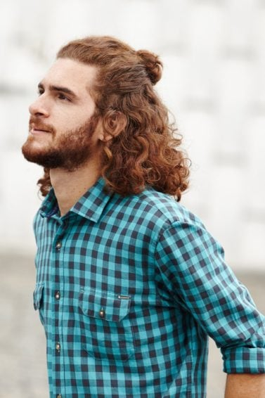 top knot male: All Things Hair - IMAGE - tutorial how to mens red curly hair man bun