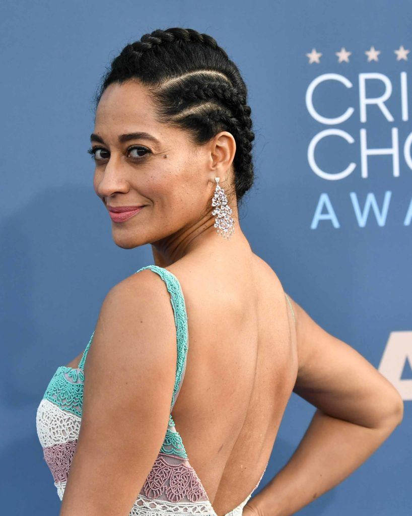Tracee Ellis Ross on the red carpet with cornrows in her dark brown hair
