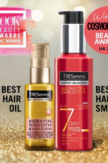 close up shot of the TRESemmé Keratin Smooth Shine Oil and the TRESemmé 7 Day Smooth Heat Activated Treatment