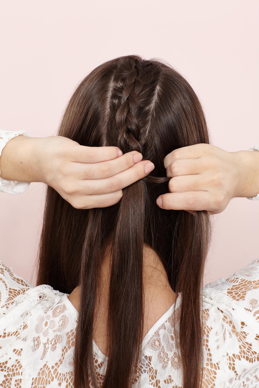 Creating unicorn braids: step 3 braided hairstyle tutorial brown hair
