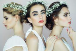3 models with floral updo wedding hairstyles