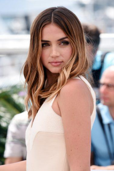 Ana de Armas in white dress with ombre hair