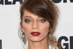 Westworld's Angela Sarafyan with side fringe hairstyle