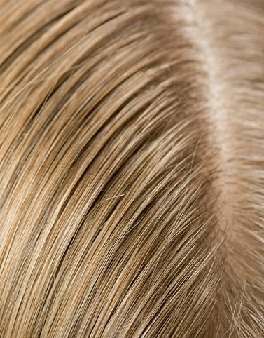 Hair porosity close up of blonde scalp