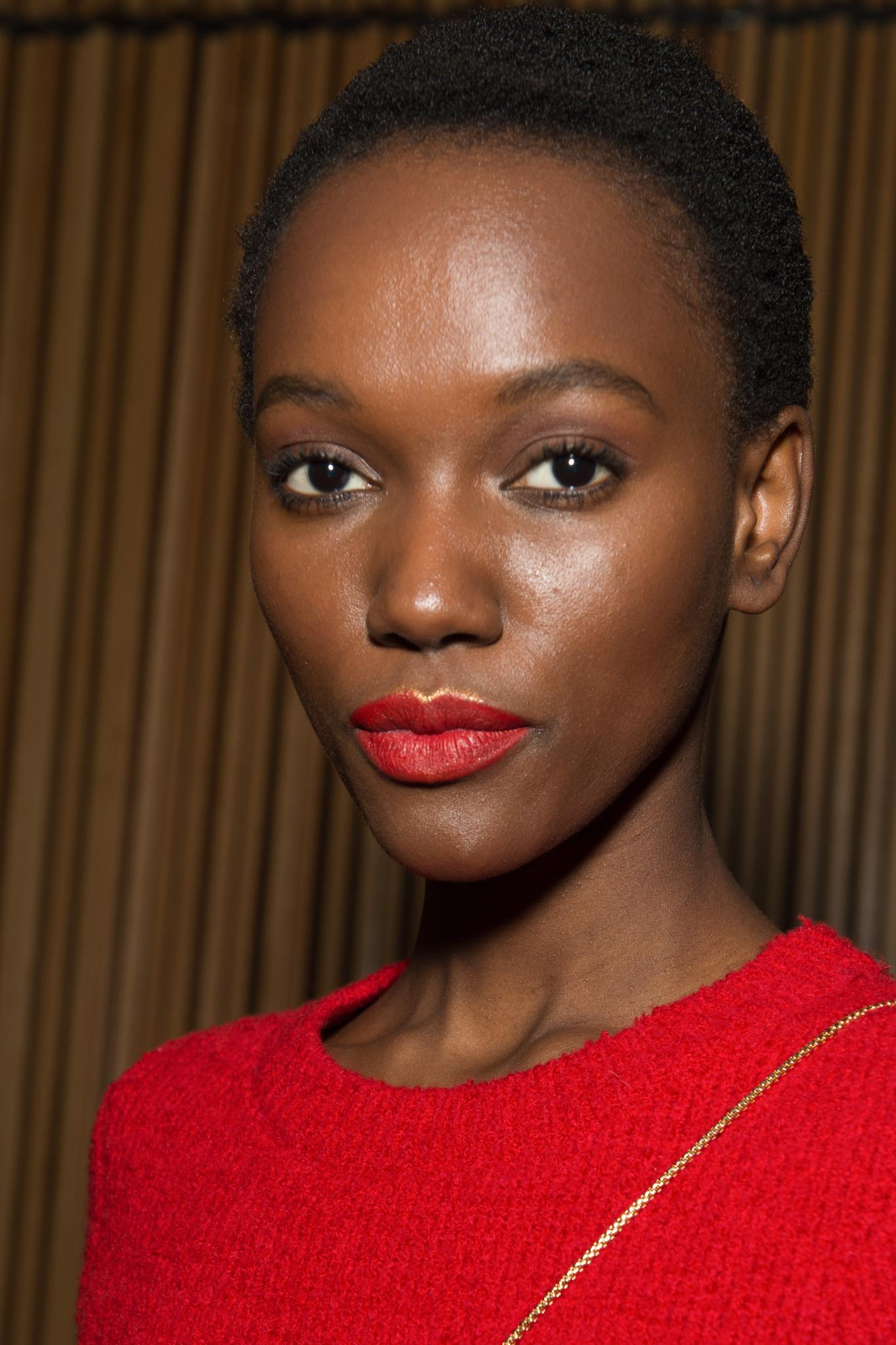 Short black hair: A black model with a shaved afro at the Brandon Maxwell AW18 catwalk show