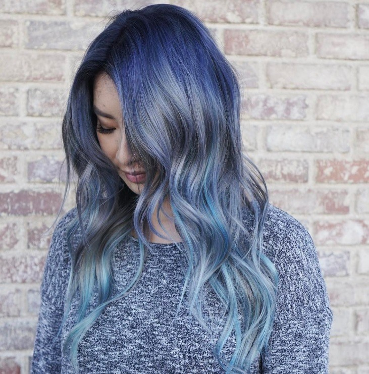 wavy blue ombre hair