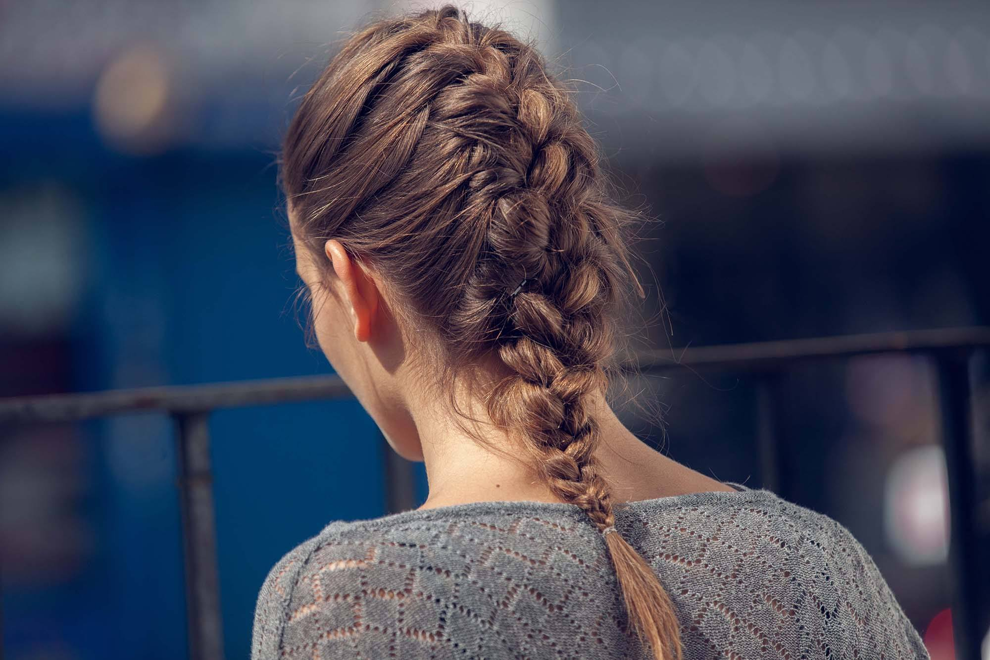 gym hairstyles for thick hair french braid on brunette hair