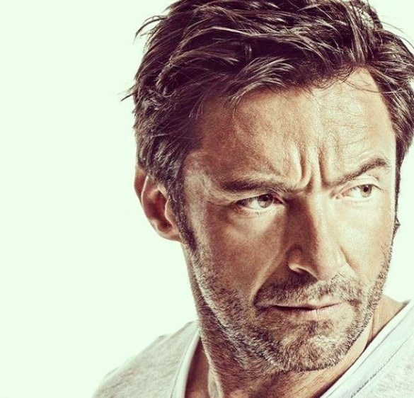 front view image of Hugh Jackman with textured side swept hair