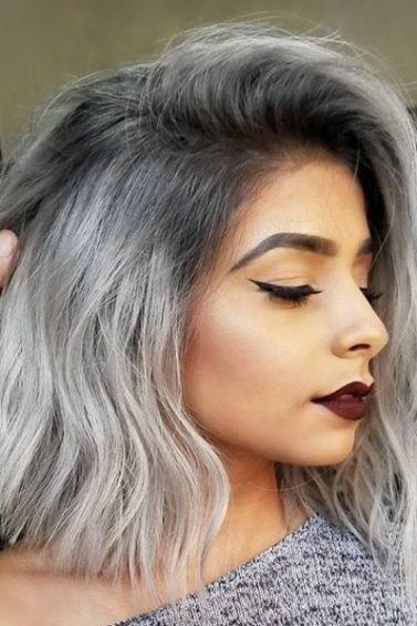 grey ombre hairstyle of a woman