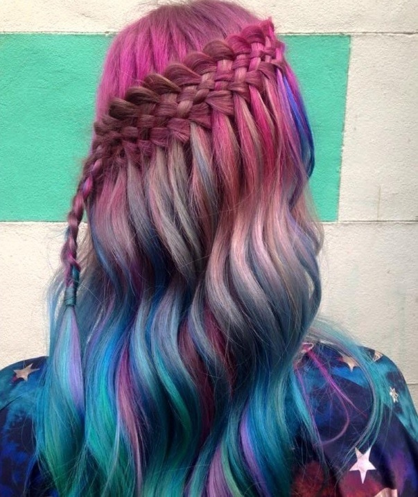 colorful waterfall hairstyle in long wavy pink and blue hair