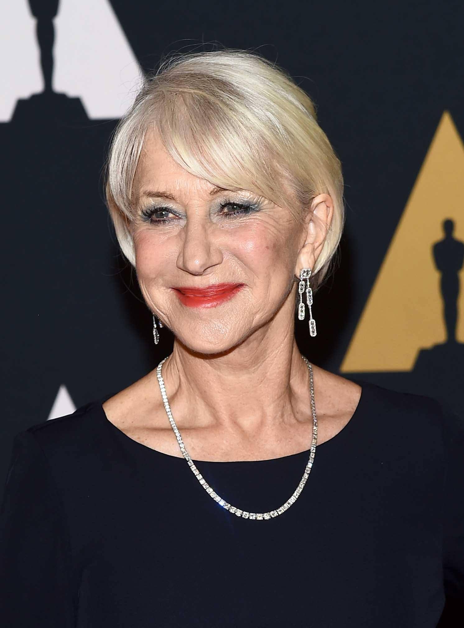 Helen Mirren smooth blonde bob side fringe red carpet hairstyles